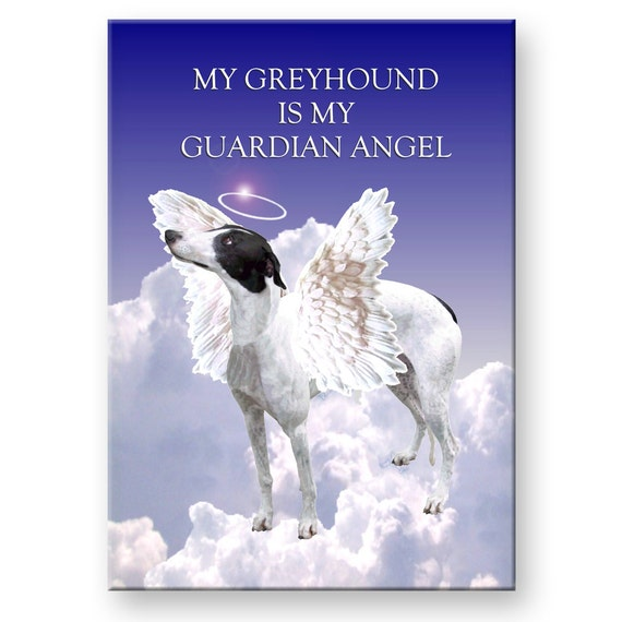 Greyhound Guardian Angel Pet Loss Fridge Magnet No 1