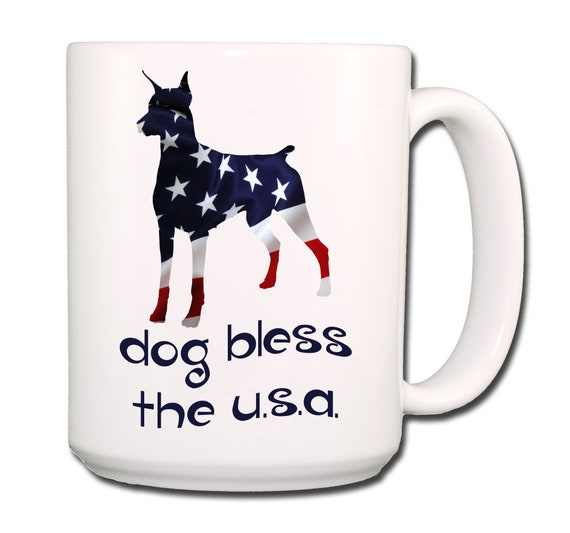 Doberman Pinscher Dog Bless The U.S.A. Extra Large 15 oz Coffee Mug