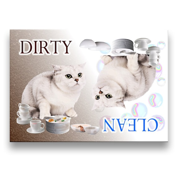 British Shorthair Cat Clean Dirty Dishwasher Magnet No 2