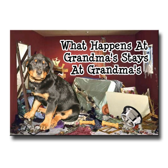 Rottweiler What Happens at Grandmas Fridge Magnet No 1