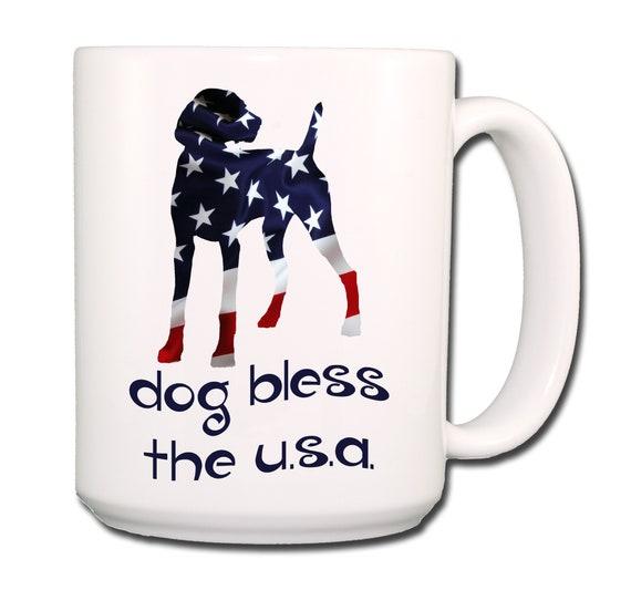 Weimaraner Dog Bless The U.S.A. Extra Large 15 oz Coffee Mug