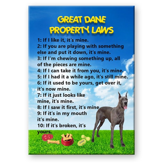 Great Dane Property Laws Fridge Magnet No 1