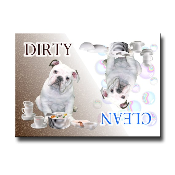 English Bulldog Clean Dirty Dishwasher Magnet No 3
