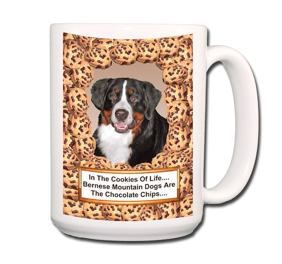 Bernese Mountain Dog Cookie Chocolate Chip Extra Large 15 oz Coffee Mug
