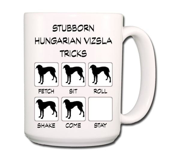 Hungarian Vizsla Stubborn Tricks Large 15 oz Coffee Mug