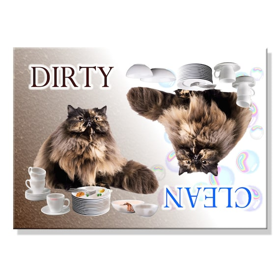 Persian Cat Clean Dirty Dishwasher Magnet No 3