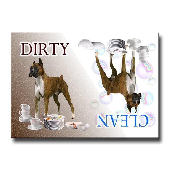 Boxer Dog Clean Dirty Dishwasher Magnet