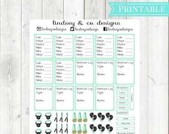 Mint Green Fitness Printable Sticker Kit || Workout Printable Sticker kit || Classic Happy Planner || MAMBI Fitness Happy Planner