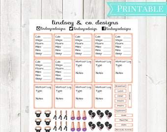 Orange Fitness Printable Sticker Kit || Workout Printable Sticker kit || Classic Happy Planner || MAMBI Fitness Happy Planner