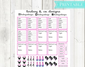Pink Fitness Printable Sticker Kit || Workout Printable Sticker kit || Classic Happy Planner || MAMBI Fitness Happy Planner