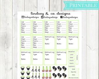 Lime Neon Green Fitness Printable Sticker Kit || Workout Printable Sticker kit || Classic Happy Planner || MAMBI Fitness Happy Planner