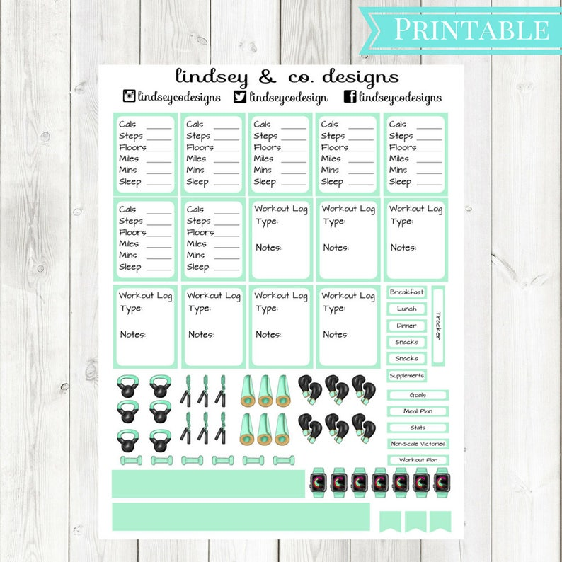 Mint Green Fitness Printable Sticker Kit || Workout Printable Sticker kit  || Classic Happy Planner || MAMBI Fitness Happy Planner
