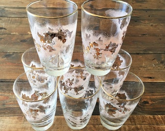 Set of 8 Vintage Libbey Frosted Pink and Gold Trimmed Floral Vine Designed Small Glasses/Shabby Chic Pink Floral and Gold Juice Glasses