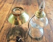 Vintage Hurricane Globe Electric Oil Style Lamp with Brass Shade