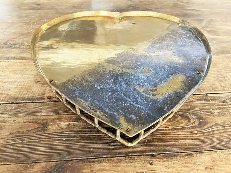 Very Large Vintage Rustic Brass Heart TrayBrass Heart TrayBamboo Framed Brass Heart TrayValentines D\u00e9cor