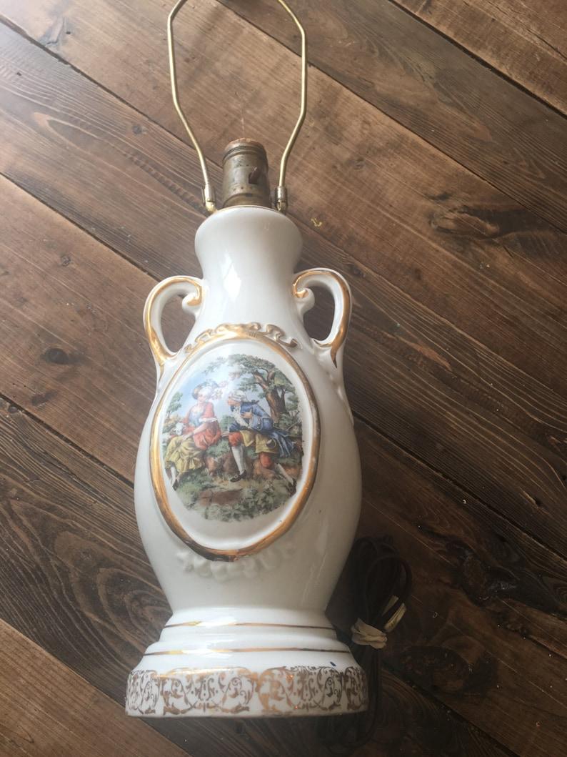 Vintage Kingwood USA China Co Table Lamp Porcelain Table LampShabby Chic Table LampCottage Chic Table LampEnglish Themed Table Lamp
