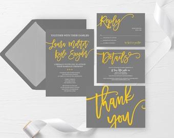 yellow gray wedding invitations etsy