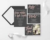 Gray and Pink Wedding Invite, Pastel Wedding Invitation, Simple Wedding Invitation Printable, Simple Wedding Invite, Save the Date