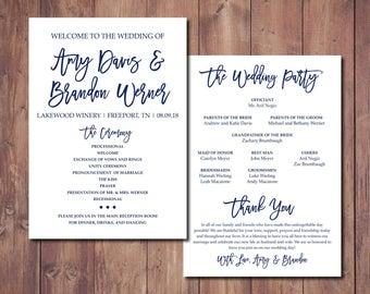 printable wedding program wedding order of service wedding etsy