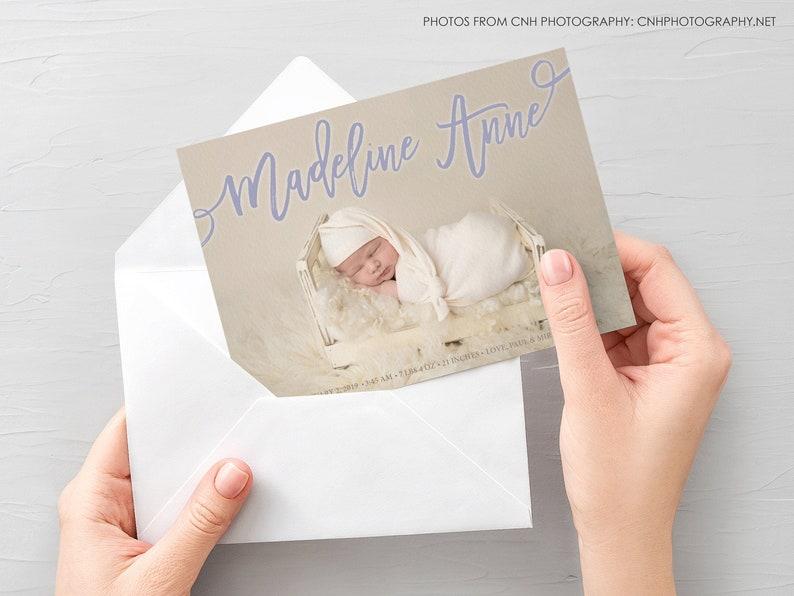 Baby Girl Announcement Baby Boy Announcement, Photo Newborn Announcement Baby Birth Announcement Card Photo Birth Announcement Card