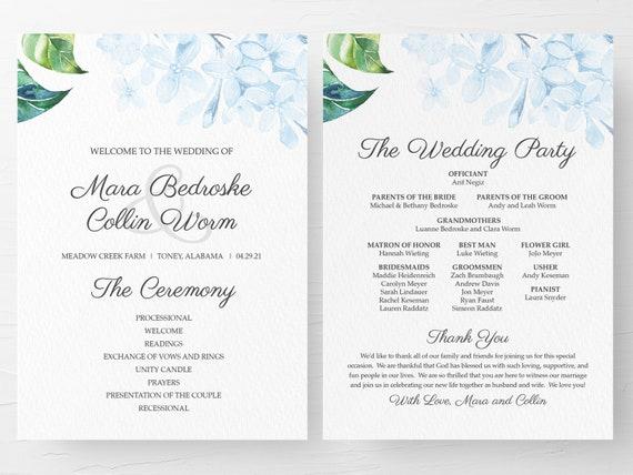 Wedding Ceremony Program Wedding Programs Ceremony Program Wedding Order Of Service Floral Wedding Program Light Blue Wedding Program