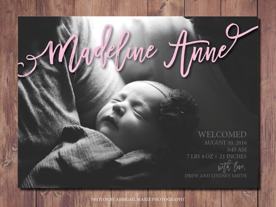 Printable Birth Announcement Card New Baby Announcement Card Etsy