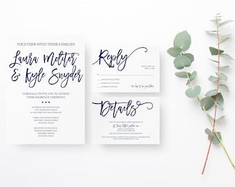 Navy Wedding Invitation Suite, Simple Wedding Invitation Suite, Navy Wedding Invite, Printable Wedding Invite Suite, Navy Save the Date