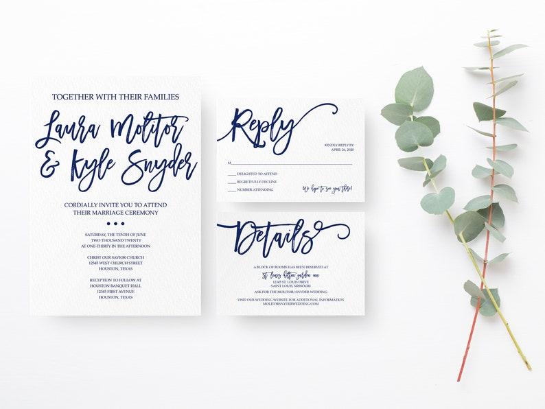 Navy Wedding Invitation Suite Simple Wedding Invitation image 0