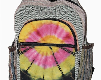 23d8441d02e2 Multi Pocket Tie Dye Hemp Canvas Backpack - Hippie School Bag - 100% Pure Hemp  Backpack Handmade Nepal with Laptop Sleeve - Fashion Cute Tra