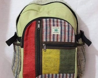 f9e8191ab949 Nepali Handmade Hemp Rasta Backpack - 100% Pure Hemp (THC FREE) Backpack  Handmade Nepal with Laptop Sleeve - Fashion Cute Travel School Coll