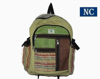e82669f1ce5d Multi Pocket Hemp and Denim Canvas Backpack - 100% Pure Hemp (THC FREE)  Backpack Handmade Nepal with Laptop Sleeve - Fashion Cute Travel Sch