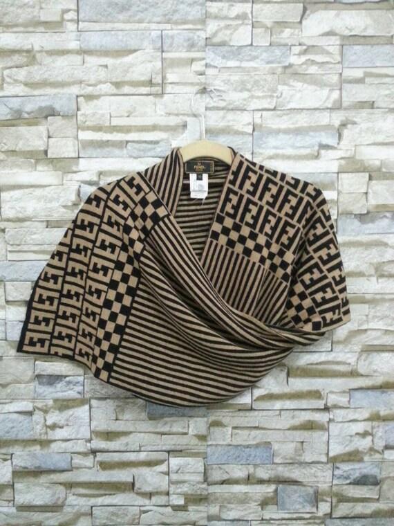 cfeda690c620 ... germany vintage fendi ff zucca monogram logo wool scarf muffler wrap  etsy a3bf0 6ab74