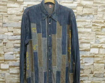 Vintage RARE Denim Shirt Patchwork Jean RARE Designer Made in Italy XL