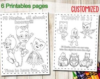 Pj Masks Coloring Etsy
