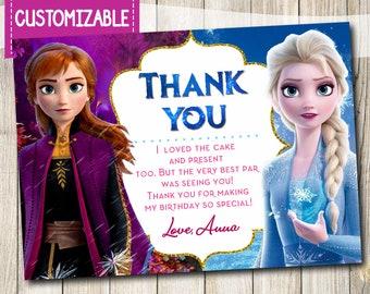 Personnalisé Disneys Frozen 2 Anniversaire THANK YOU Cartes invite Inc envleope F10