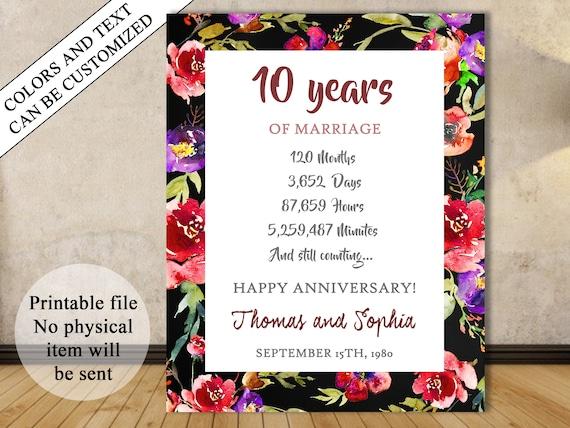 10 Jahrestag Geschenk 10 Jahre Hochzeitstag Druckbare Etsy