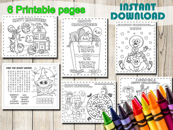 Halloween Coloring Pages INSTANT DOWNLOAD gift favors party