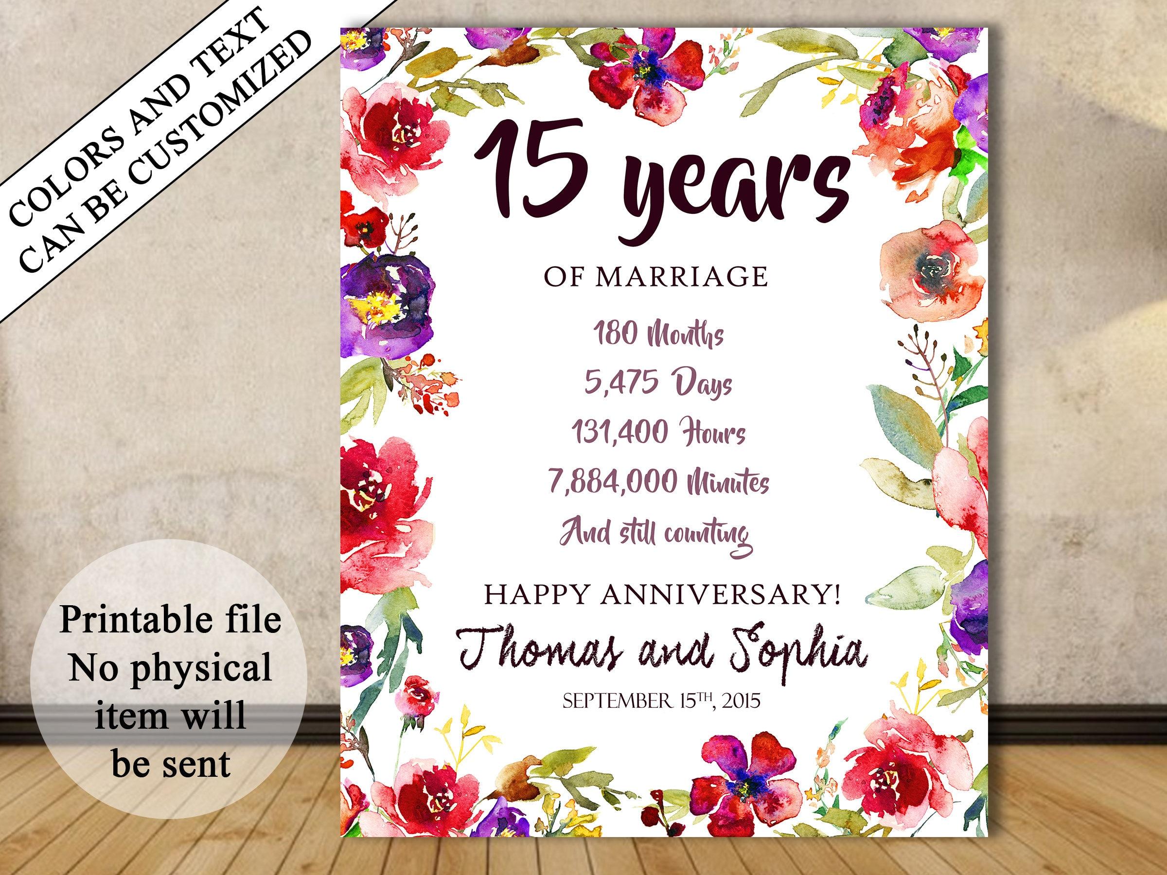 15th Anniversary Gift 15th Year Wedding Anniversary 15th Etsy