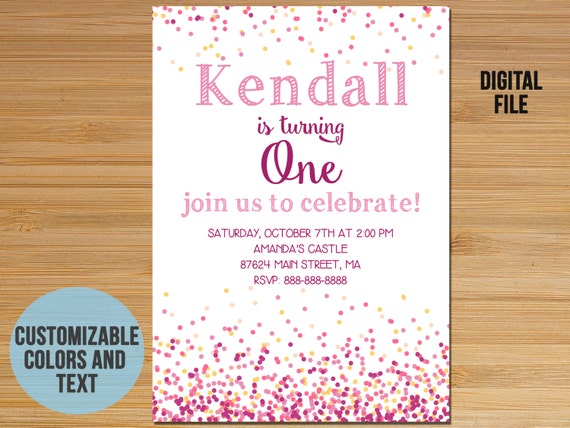 Conffeti First Birthday Invitation Confetti