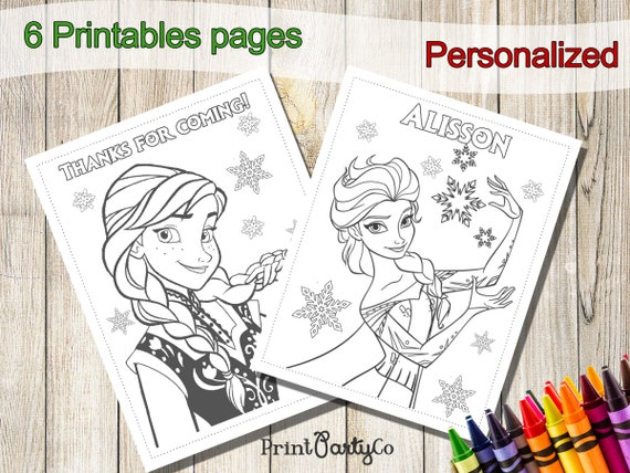 - Frozen Coloring Pages Frozen Party Favors Frozen Birthday Etsy