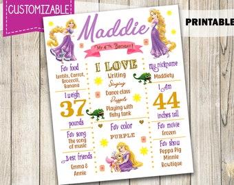 Tangled Rapunzel, Printable Rapunzel Any Age Birthday chalkboard sign poster, Tangled Birthday banner, chalk board, Tangled board