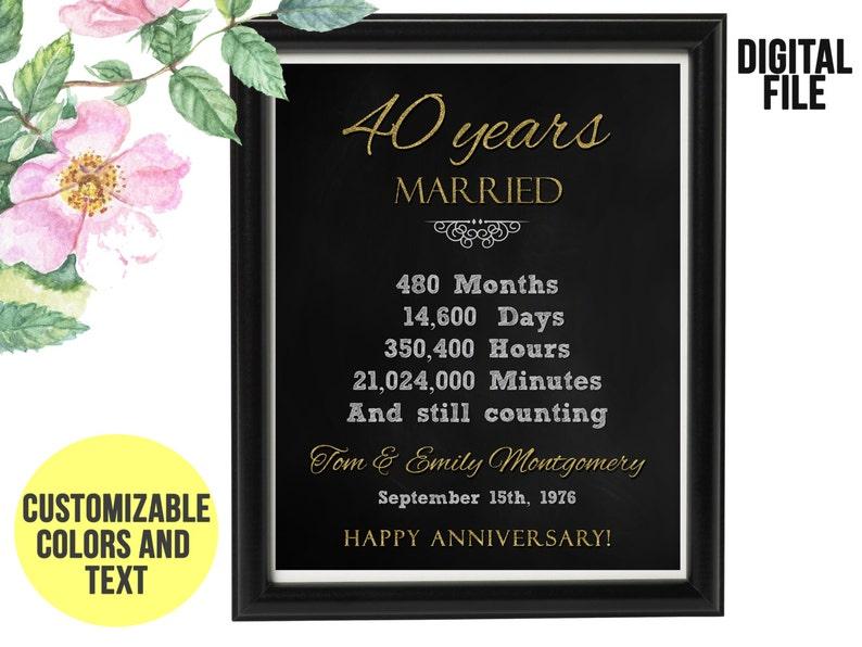 40 Ans Anniversaire De Mariage Cadeau 40e Anniversaire Imprimable Numérique Personnalisé Rapide Cadeau Pour Femme Cadeau Pour Les Couples Mari