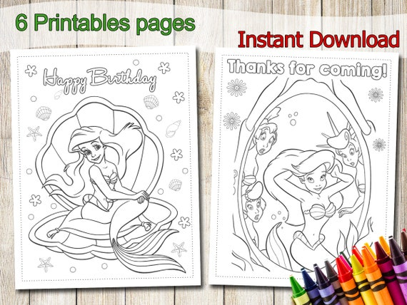 Little Mermaid Coloring Pages INSTANT DOWNLOAD Little Etsy