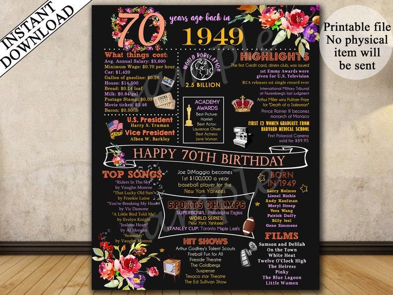 a7201372bc0 70th Birthday Poster 70th Birthday Chalkboard 1949 Birthday | Etsy