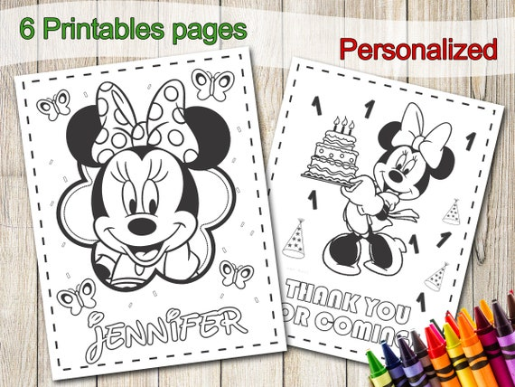 Minnie Mouse Coloring Pages Party Favors Minnie Mouse Etsy