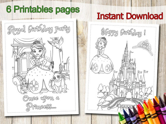 Princess Sofia Coloring Pages, INSTANT DOWNLOAD, Princess Sofia Party  Favors, Princess Sofia Birthday, Favor, Princess Sofia coloring book