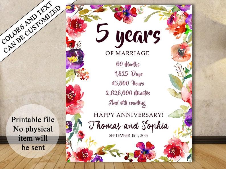 5ème Cadeau Danniversaire Anniversaire De Mariage 5 Ans 5e Anniversaire Signe Tableau Danniversaire Anniversaire Chiffres De Stats Cinquième