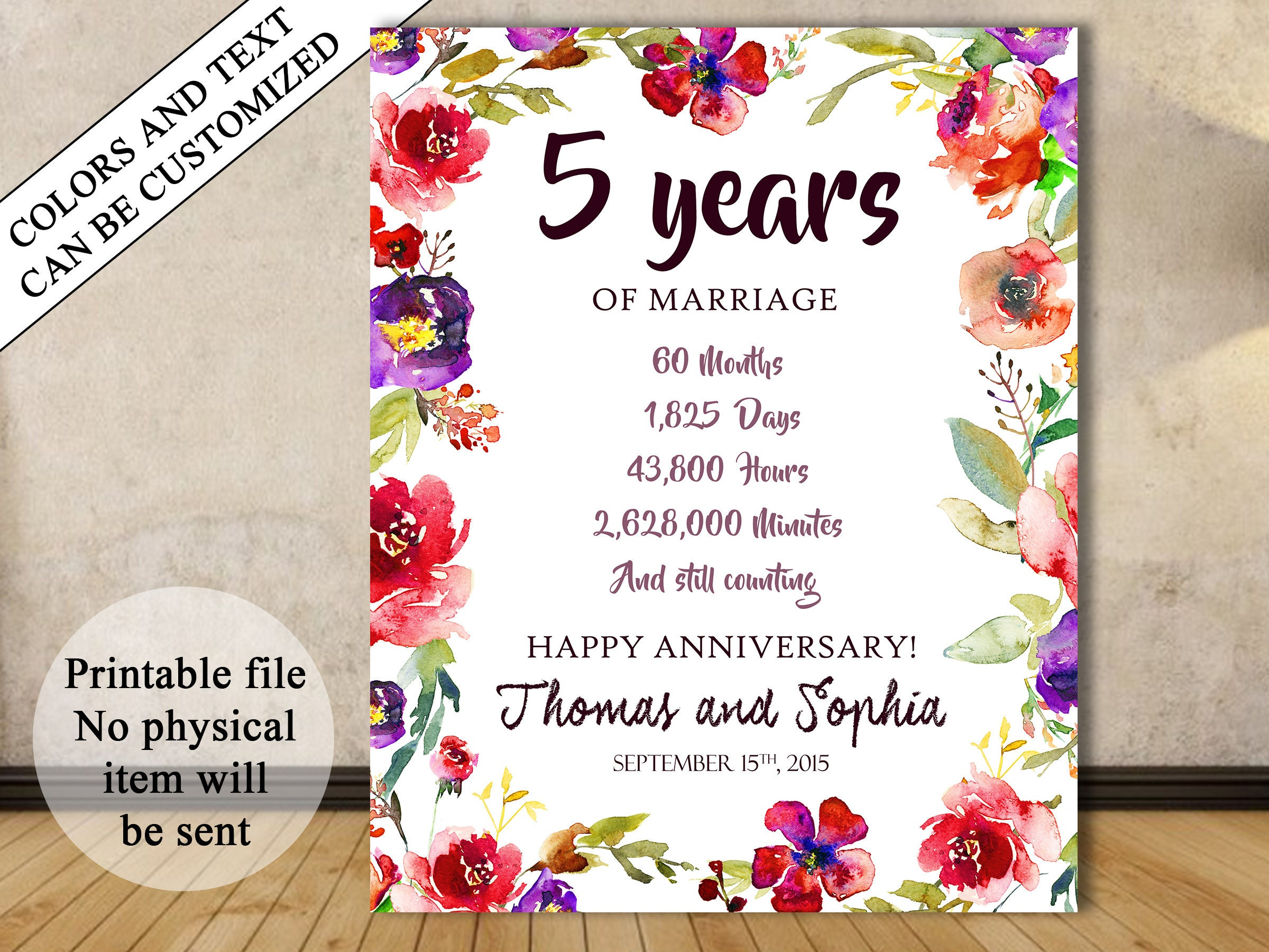 5th Anniversary Gift 5th Year Wedding Anniversary 5th Anniversary Sign Anniversary Chalkboard Anniversary Numbers Stats Fifth