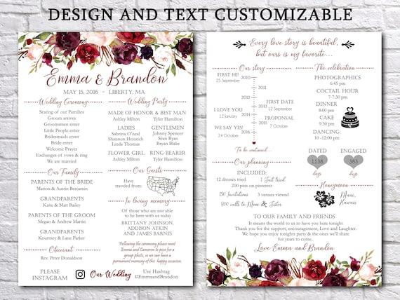 fun infographic wedding program template printable modern etsy