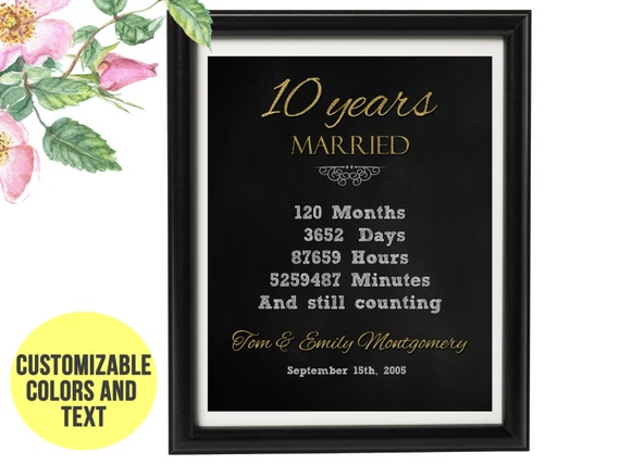 Anniversario Matrimonio 55 Anni Regalo.10 Anniversario Regalo 10 Anni Anniversario Di Matrimonio Etsy